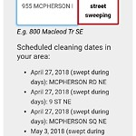 Street Cleaning at 955 MCPHERSON RD NE